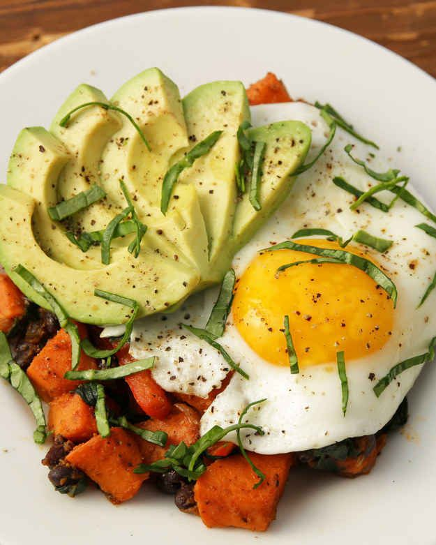 Sweet Potato Black Bean Hash - looks awesome, but without the egg...