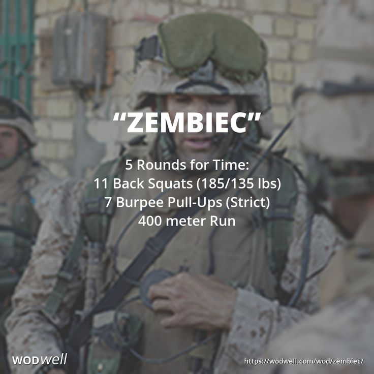 """""""Zembiec"""" WOD - 5 Rounds for Time: 11 Back Squats (185/135 lbs); 7 Burpee Pull-Ups (Strict); 400 meter Run"""