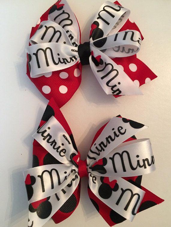 Arcos del pelo de Minnie Mouse roja y arco de Minnie negro