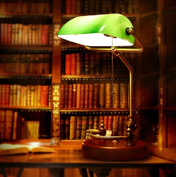 Traditional Banker's Lamp -- task lighting in the library                                                                                                                                                                                 More