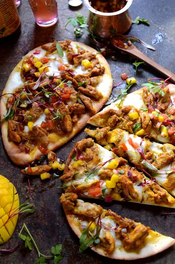 Chicken korma naan bread pizza with mango and tomato chutney salsa |