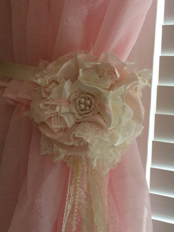 Pink and Ivory Flower Tiebacks Nursery Curtain by DolledandDazzled