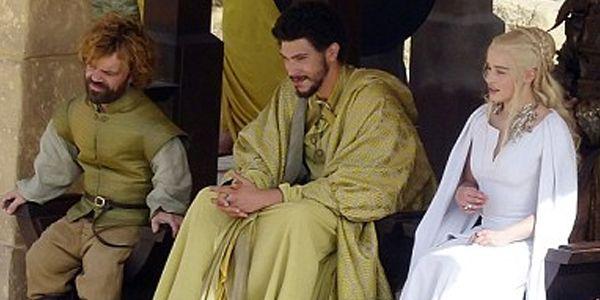Peter Dinklage as Tyrion Lannister, Joel Fry as Hizdahr zo ...