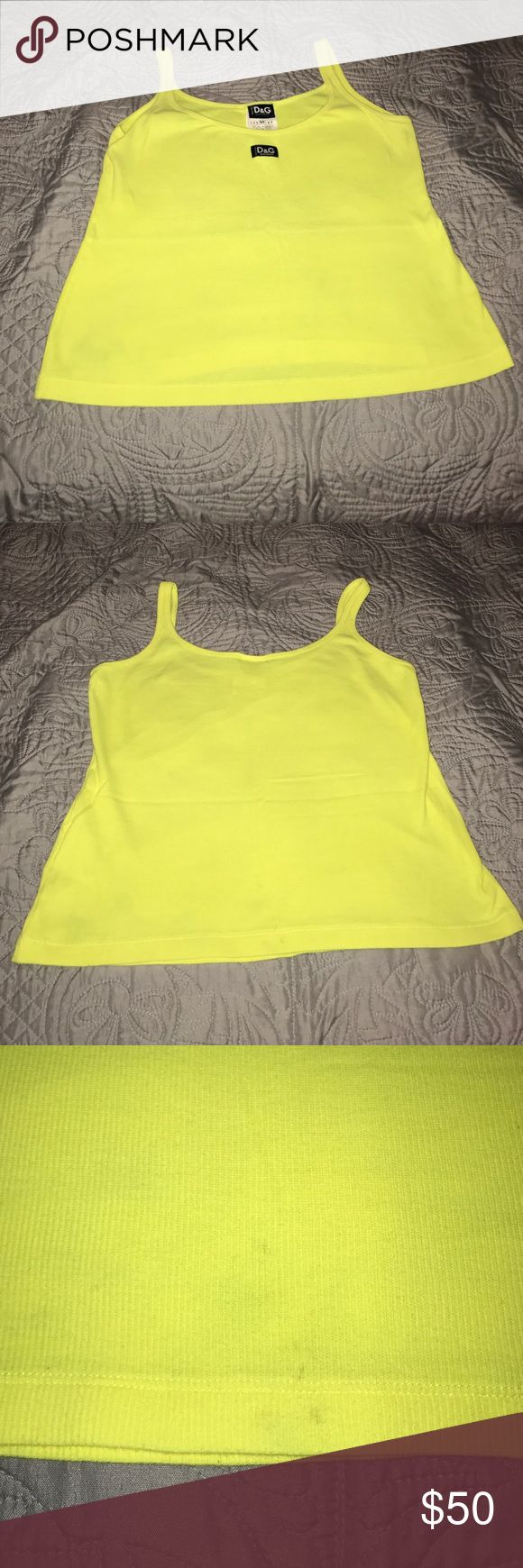 Dolce & Gabbana Neon Yellow Tank Top Good condition. Few marks on the bottom back of the shirt- see pictures. Dolce & Gabbana Tops Tank Tops