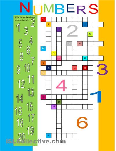 Numbers 1-20 Crossword for ESL kids