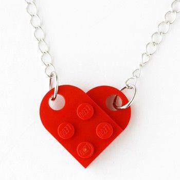 heart necklace: Goods Retro, Heart Necklaces, Diy Jewelry, Retro Block, Block Heart, Lego Heart