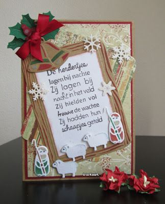 Handmade card by DT member Anita with Collectables Nativity Set (COL1395), School Slate (COL1373), Craftables Punch Die Snow Flakes (CR1335) and Christmas Bells (CR1343) and Clear stamp Kerstlied - de Herdertjes (CS0947) from Marianne Design
