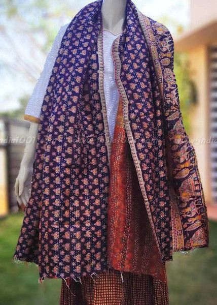 Upcycled Reversible Silk Kantha Stole