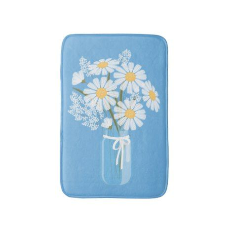 White Daisies Mason Jar on Blue Bathroom Mat #kids #childrens #illustrator
