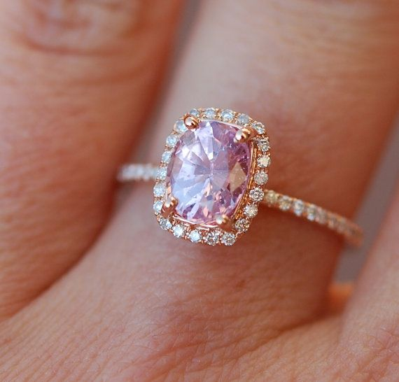 Pink sapphire ring engagement ring 1.58ct Cushion by EidelPrecious