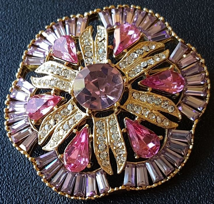 Signed EISENBERG ICE Vtg Brooch Pin Flower Pink Purple Crystal Rhinestone A121