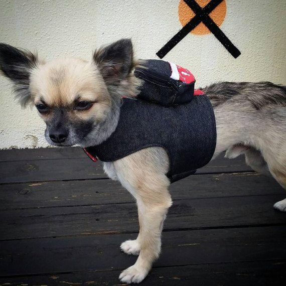 Harnais pour chien avec sac à dos veste de Denim de par PupaChurros
