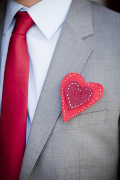 Hand-sewn red <3 boutonniere (Blue hearts for the groomsmen!) - LA Wedding at Carondelet House from Aurelia D'Amore Photography