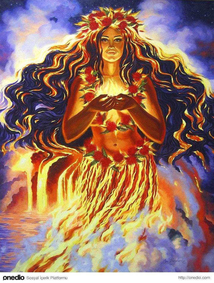 Pele (Kuzey Pasifik Mitolojisi)     Hawaii adalarında doğum tanrıçası Haumea'nın kızı, güç ve yıkımın kişileştirilmiş sembolü ateş ve volkan tanrıçasının adı olup, lav püskürmelerine sebep olmaktadır. Kilauea yanardağının içinde yaşayıp, şekil değiştirebilen büyüleyici güzellikte bir kadın olarak tasvir edilen Pele, Hula dansçılarının koruyucusudur.
