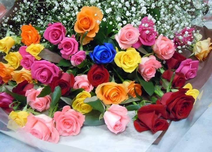 Lovely multi-color rose bouquet | Flora | Pinterest