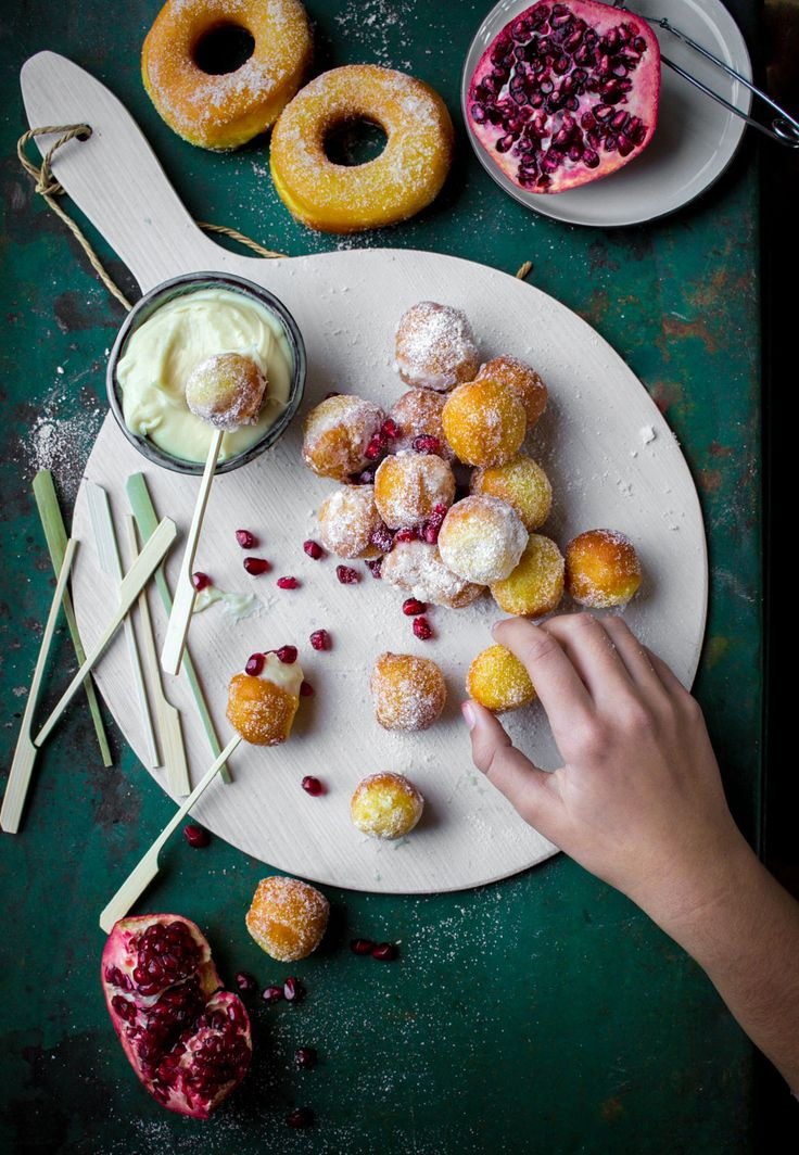 saffron donuts and white chocolate dip