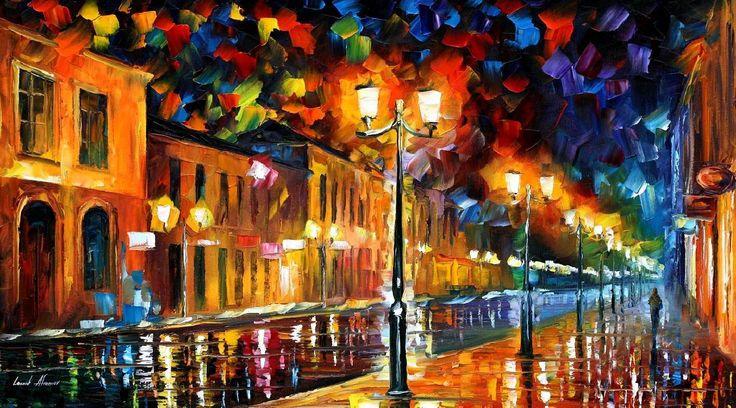 Sleeping City — PALETTE KNIFE Oil Painting On Canvas By AfremovArtStudio. Official Shop: https://www.etsy.com/shop/AfremovArtStudio