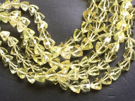 Lemon Quartz Beads Lemon Quartz Faceted Trillion by gemsforjewels