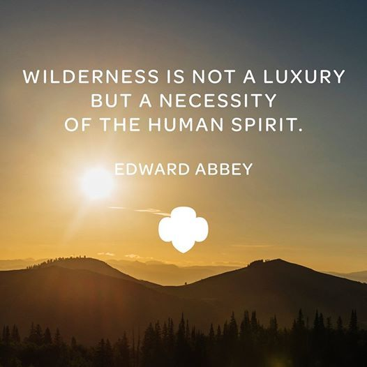 Wilderness is not a luxury, but a necessity of the human spirit. -Edward Abbey