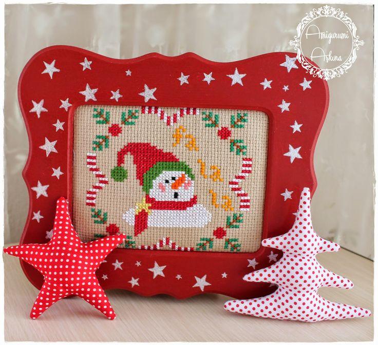 Amigurumi Yeni Yıl Bebeği ve Resimli Açıklamalı Yapılışı- Cross stitch snowman falala