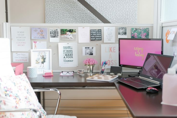 perfectly pink + inspirational office space #office #decor #theeverygirl
