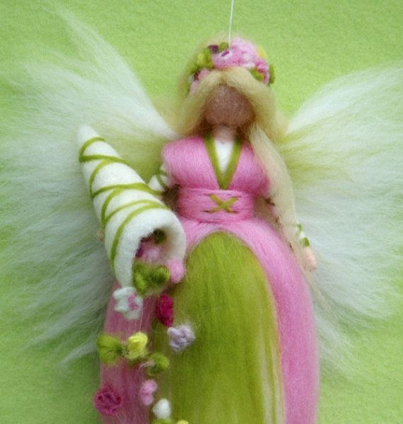SPRING FAIRY Cornucopia Needle Felted Wool Doll Angel Fairies Soft Sculpture Waldorf Inspired