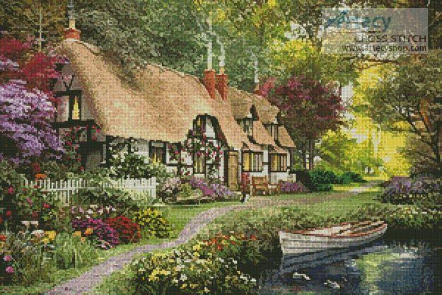 Artecy Cross Stitch. Woodland Walk Cottage Cross Stitch Pattern to print online.