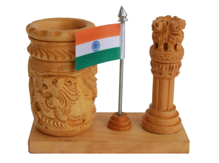 Wooden Pen Holder With Ashoka Pillar & Flag Carved Handmade Home Decor Item