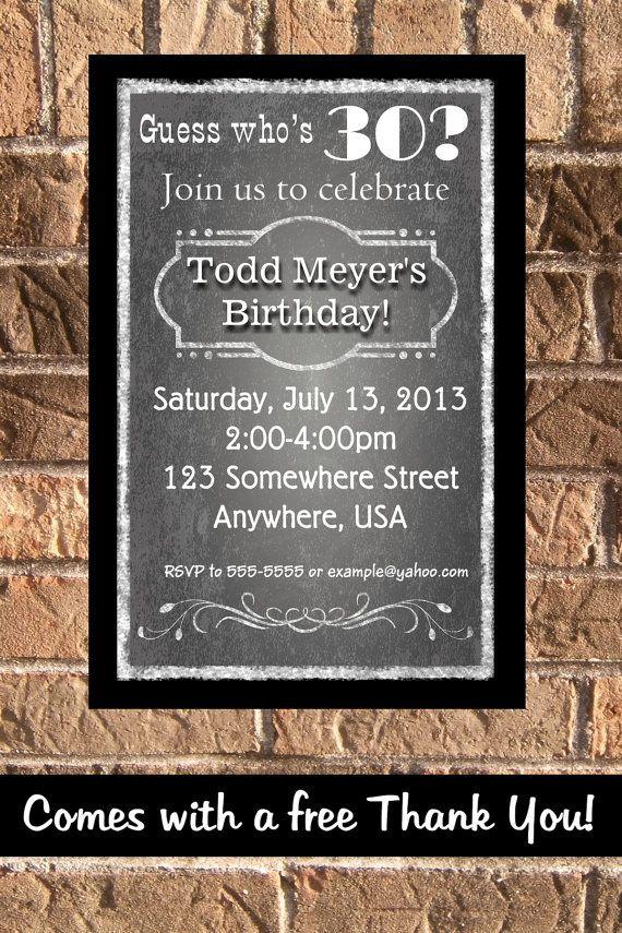 30th 40th 50th 60th Birthday Party Chalkboard Male