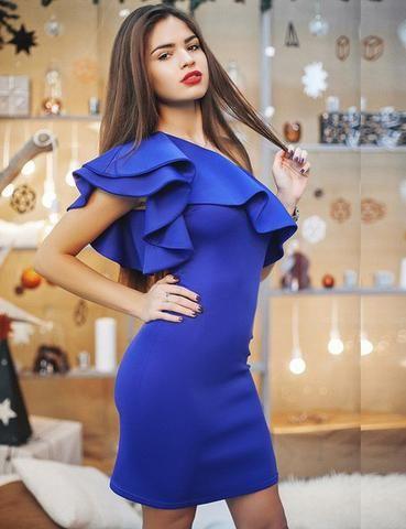 Sexy Shoulder Flouncing Dress