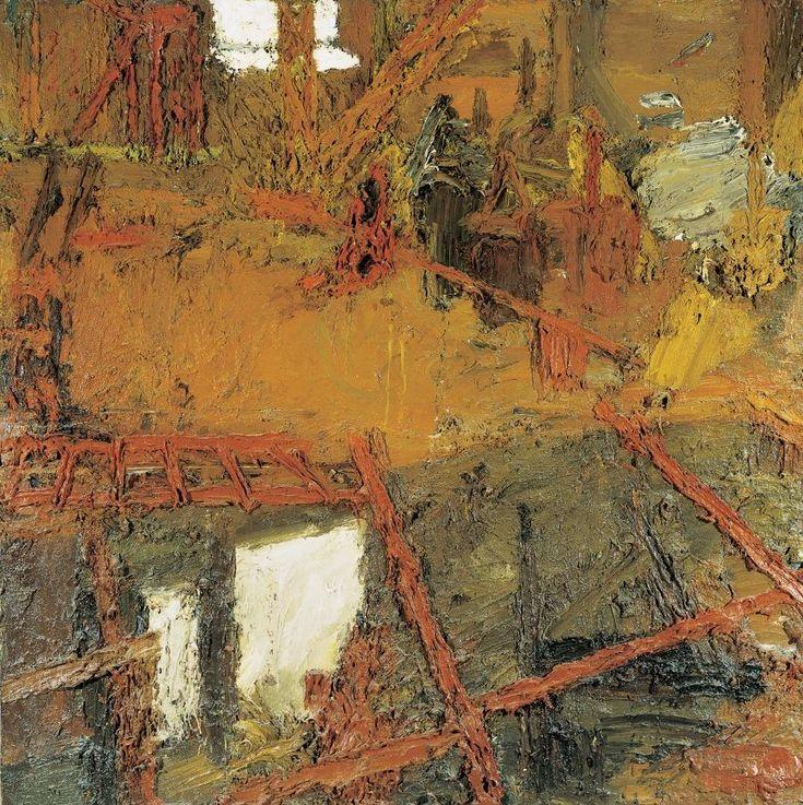 """Frank Auerbach - """"Rebuilding The Empire Cinema, Leicester Square"""", 1962 - Oil on board - 152,5 x 152, 5 cm."""