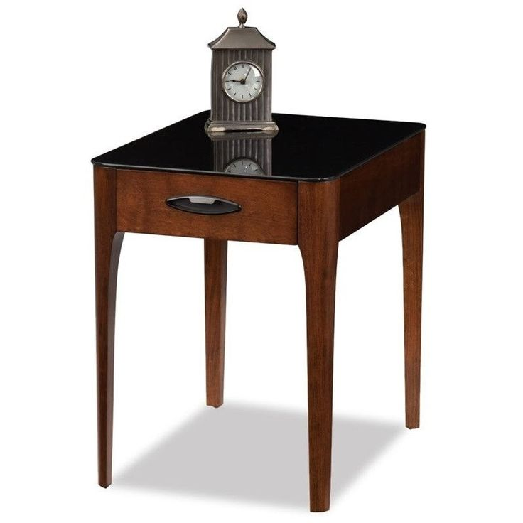 leick obsidian glass top end table in chestnut - Leick Furniture