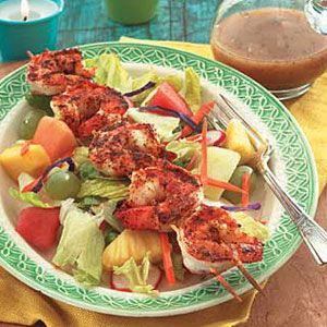 This delicious #salad with a kebob of broiled shrimp is as healthy as it is eye-catching. #Recipes #MyPlate
