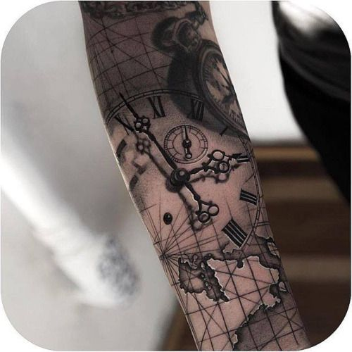 map clock tattoo