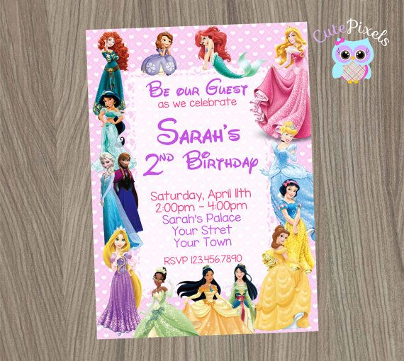 disney princess invitation princess birthday by cutepixels on etsy - Disney Princess Party Invitations