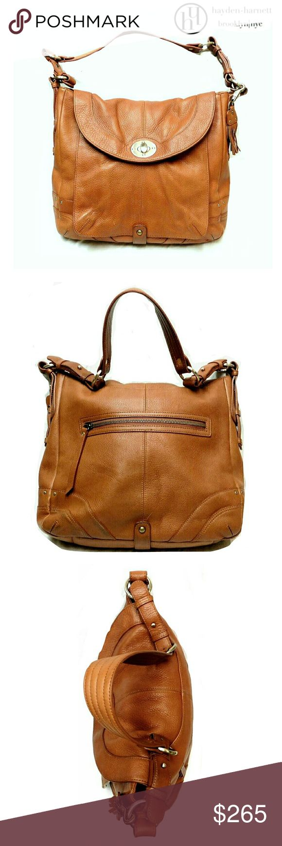 "HAYDEN-HARNETT  by BROOKLYN/NYC FRONT FLAP SATCHEL MAGNIFICENT HAYDEN-HARNETT BY BROOKLYN/NYC FRONT FLAP SATCHEL Pre-Loved   HH is Well Known for Their Well Made & Sturdy Design Bags....and This is One of Them! Genuine Leather  Gold Brass Hardware Front Flap w/Turn Key Spacious Interior w/Zipper Cmpntt  w/3 Slip Pkts Very Good Condition w/One Small Spot on Bottom (water?)   Approx Meas;    L   12"" (apprx)    H   11"" (Top to Bttm Seam)    Drop   10"" (non-adj)  Colors May Not be Exact due to…"