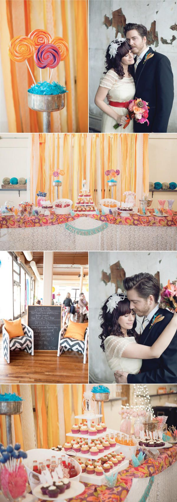 quite the whimsical dessert table. Perhaps we can do something similar in a darker color scheme.