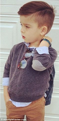 Grey jumper for toddler boys / kids  - classy & cool with elbow patches