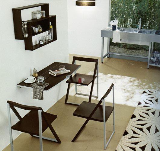 складной стол - экономия места в кухни-гостиной 18 кв метров фото