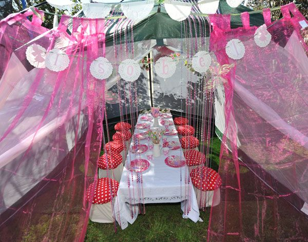 """Kids would LOVE this...using a screen tent as a """"secret"""" place for their party! Would not need to be a fairy party..."""