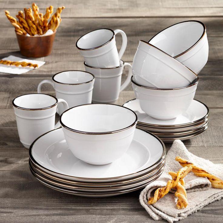 Elle decor 16piece solid white stoneware dinnerware set