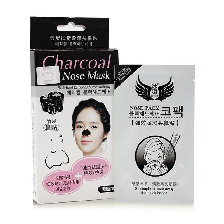 10 teile/schachtel Holzkohle Nase Gesichtsmaske Streifen Mitesser Strong Reiniger Moderate Bambus Reinigung Poren Ablösen Pack Minerals Conk