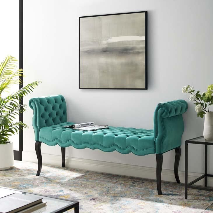 Adelia Chesterfield Tufted Velvet Bench Available In Dark Grey Light Grey Navy Teal White Velvet Bench Velvet Furniture Upholstered Bench