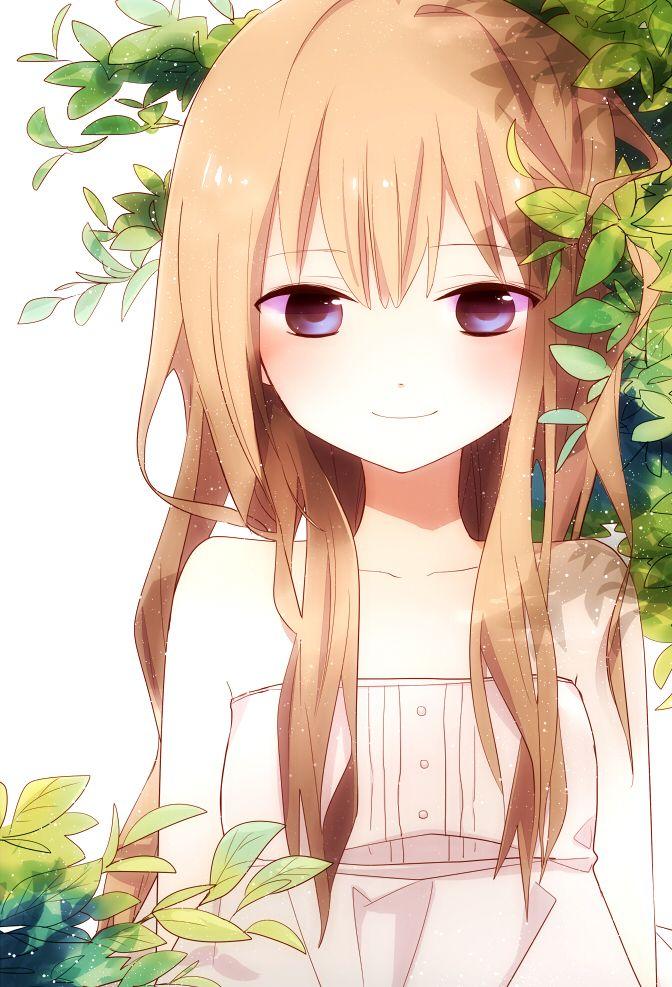 ✮ ANIME ART ✮ pretty girl. . .long hair. . .smile. . .blushing. . .leaves. . .nature. . .sparkling. . .cute. . .moe. . .kawaii