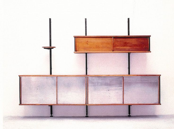 Jean PROUVE, Meuble suspendu à système (prototype) / Hanging furniture with adjustable shelving (prototype) 1943, massive oak, metal and aluminum doors