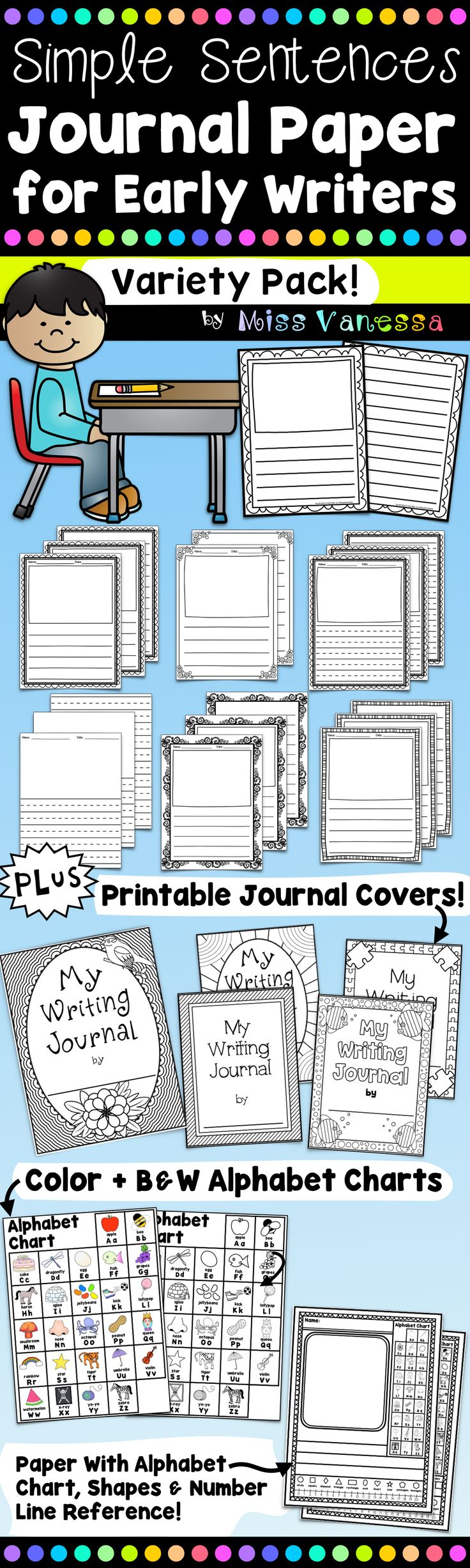 Writing Paper Bundle with Journal Covers & Alphabet Charts! {journal paper paper, kindergarten, lined, with picture, first grade, cute, with border, primary, elementary, horizontal, story, half sheet, stationary, printable}