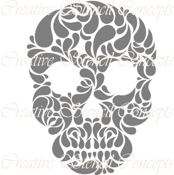 Floral Mexican Halloween Sugar Skull Decorative Stencil MULTIPLE SIZES AVAILABLE on Industry Standard 12 Mil Mylar Design 112909300