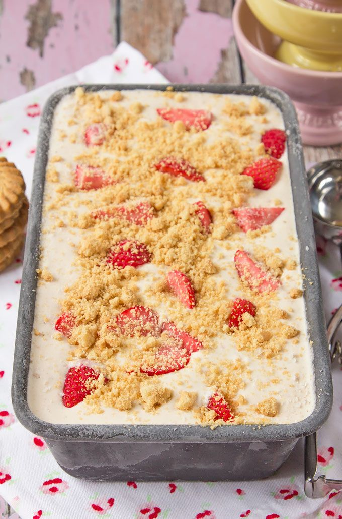 Craving decadent homemade ice cream, but don't have an ice cream machine? Try this simple recipe for Strawberry Shortcake Ice Cream. Five ingredients, full of fresh strawberries, crumbled biscuits, and ready in a few hours with no churning; the perfect summer ice cream!