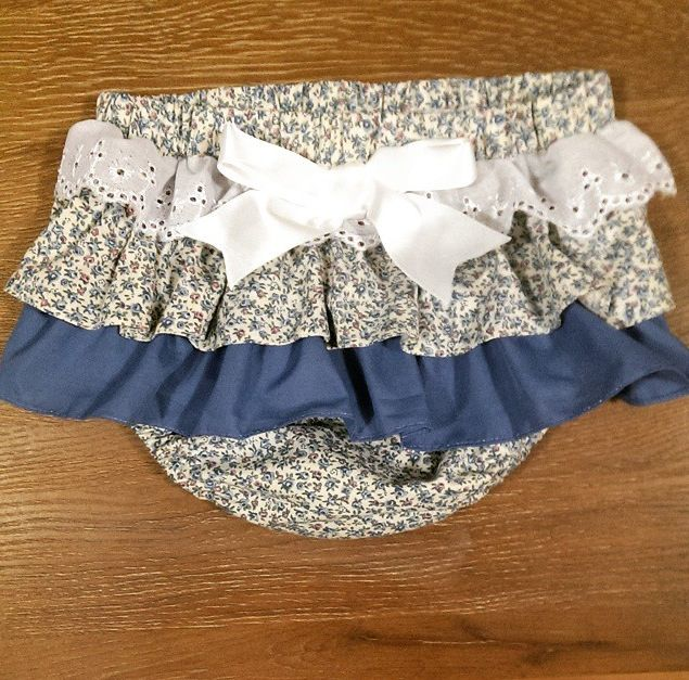 Zaylie_Co's gorgeous frilly blue floral print nappy cover with a white bow now also available with a blue now now as well