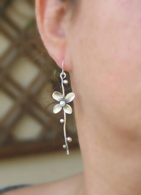 Silver Flower branch dangle Earrings with Pearl by mariastudio...pinned by ♥ wootandhammy.com, thoughtful jewelry.